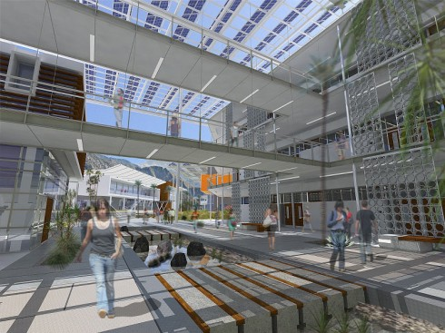 Campus courtyards shaded by solar panels