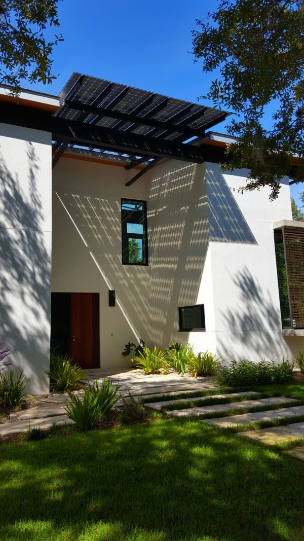 Honor Award for Sustainable Design from the American Institute of Architects/Florida-Caribbean, with an artistic solar panel installation by Brilliant Harvest.