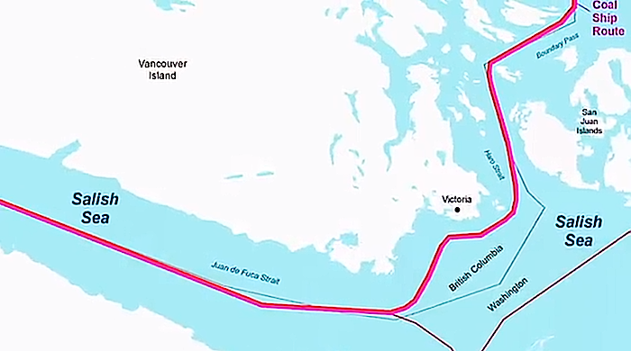 Tanker route between the southern tip of Vancouver Island and state of Washington - from Save the Salish Sea