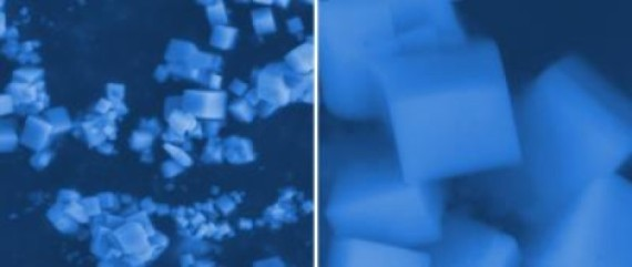 The researchers have created for the first time compounds made from mixtures of calcium hexaboride, strontium and barium hexaboride. From left: Scanning electron microscope image of hexaboride structure at the 5 micron scale; image at the 500 nanometers scale. Image Credit: Jacobs School of Engineering/UC San Diego