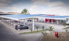 Tesla Supercharger Lounge Solar Carport