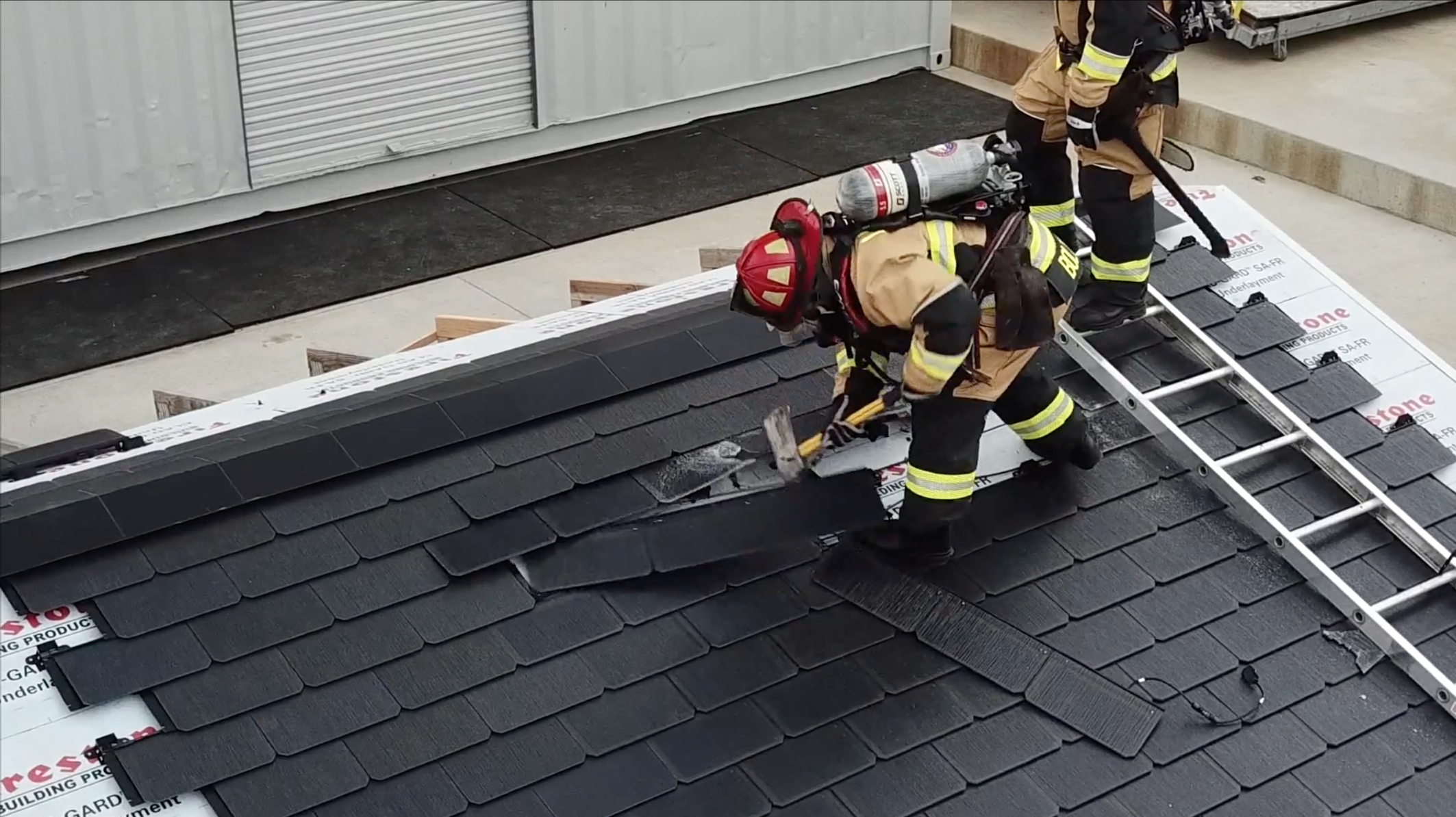 Tesla Solar Roof Firefighting Video Highlights Installation Wiring Pickup Diagrams Notably The Low Risk Of Shock Or Electrocution When Interacting With Lower Voltage Connecting Panels To Residential